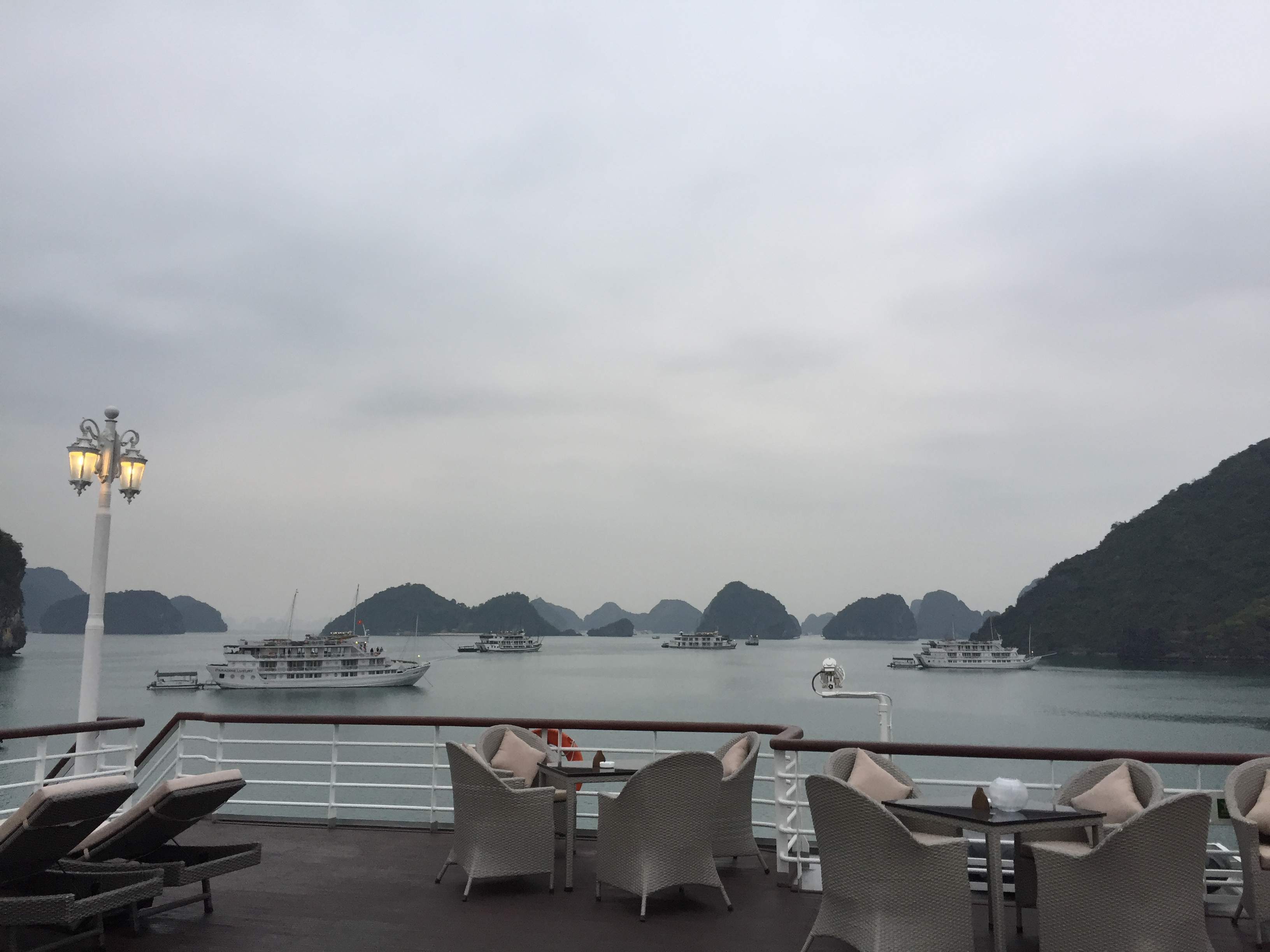 top deck view halong bay cruise